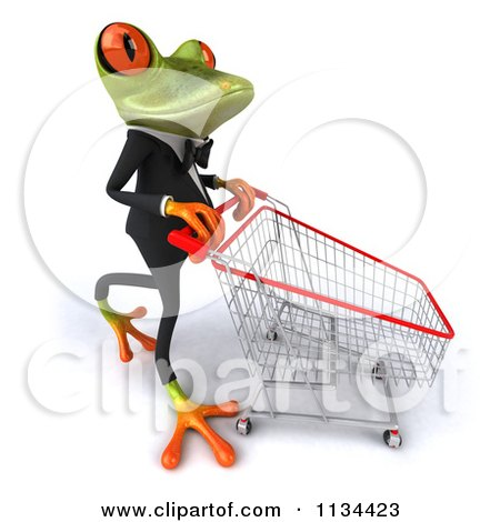Clipart Of A 3d Formal Springer Frog With A Shopping Cart 3 - Royalty Free CGI Illustration by Julos