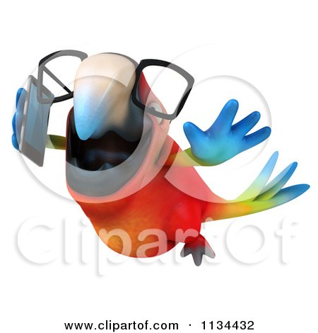 Clipart Of A 3d Bespectacled Macaw Parrot Talking On A Cell Phone 3 - Royalty Free CGI Illustration by Julos