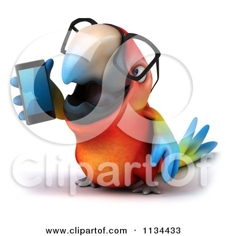 Clipart Of A 3d Bespectacled Macaw Parrot Talking On A Cell Phone 1 - Royalty Free CGI Illustration by Julos