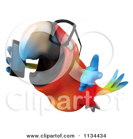 Clipart Of A 3d Bespectacled Macaw Parrot Talking On A Cell Phone 4 - Royalty Free CGI Illustration by Julos