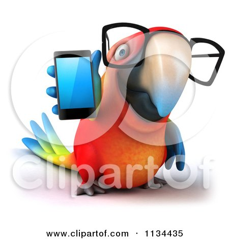 Clipart Of A 3d Bespectacled Macaw Parrot Holding A Cell Phone - Royalty Free CGI Illustration by Julos