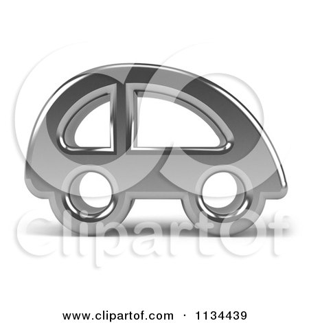 Clipart Of A 3d Chrome Car Icon - Royalty Free CGI Illustration by Julos
