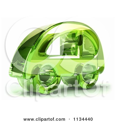Clipart Of A 3d Green Glass Car Icon - Royalty Free CGI Illustration by Julos