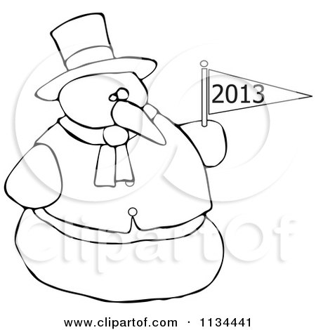 Cartoon Of An Outlined Snowman Holding A New Year 2013 Flag - Royalty Free Vector Clipart by djart