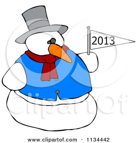 Cartoon Of A Snowman Holding A New Year 2013 Flag - Royalty Free Vector Clipart by djart