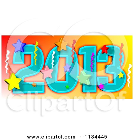 Cartoon Of A New Year 2013 With Stars And Streamers - Royalty Free Vector Clipart by djart