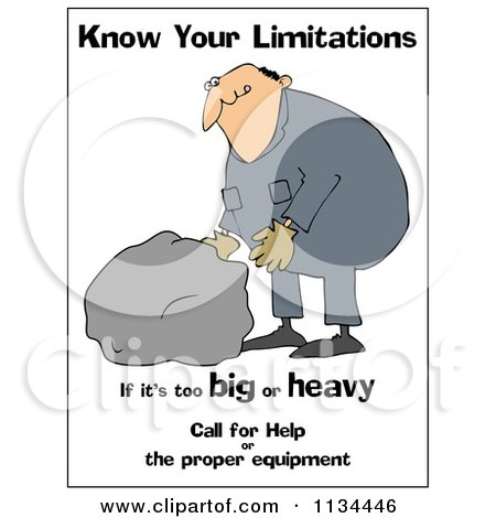 Cartoon Of A Worker Trying To Lift A Heavy Rock With Safety Text| Royalty Free Clipart by djart
