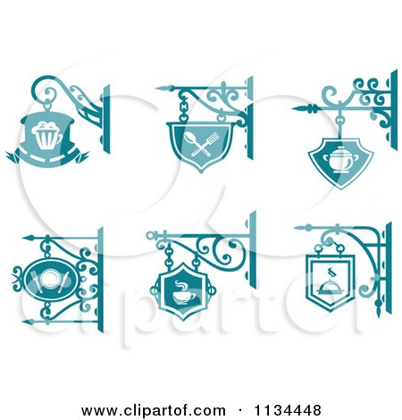 Clipart Of Teal Pub Cafe Restaurant Shingle Signs - Royalty Free Vector Illustration by Vector Tradition SM