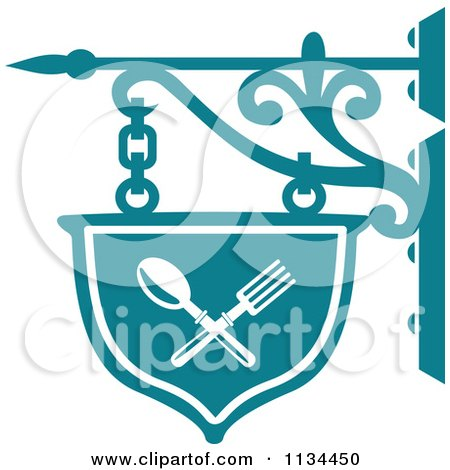 Clipart Of A Teal Restaurant Diner Shingle Sign 2 - Royalty Free Vector Illustration by Vector Tradition SM