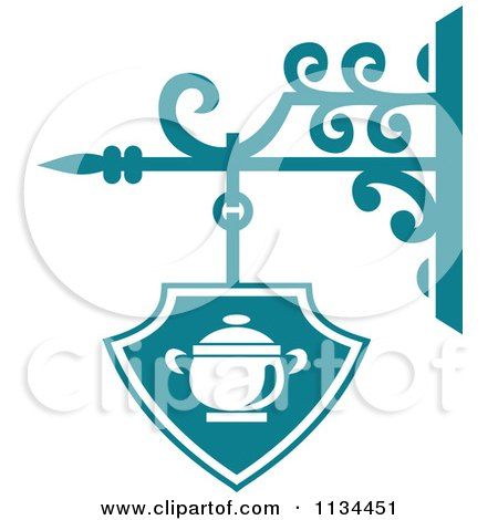 Clipart Of A Teal Restaurant Diner Shingle Sign 3 - Royalty Free Vector Illustration by Vector Tradition SM