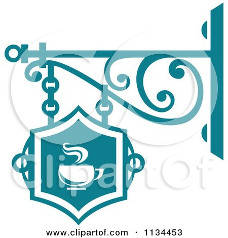Clipart Of A Teal Cafe Shingle Sign - Royalty Free Vector Illustration by Vector Tradition SM