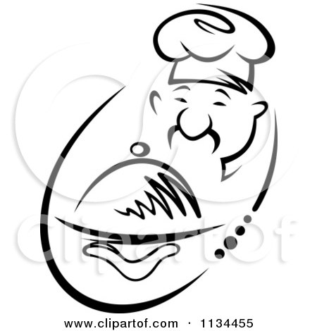 Clipart Of A Black And White Asian Chef Holding A Platter 2 - Royalty Free Vector Illustration by Vector Tradition SM