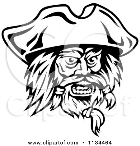Clipart Of An Angry Black And White Pirate Face 2 - Royalty Free Vector Illustration by Vector Tradition SM