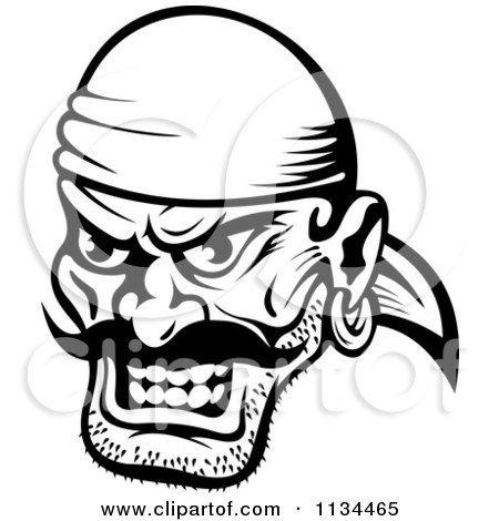 Clipart Of An Angry Black And White Pirate Face 1 - Royalty Free Vector Illustration by Vector Tradition SM