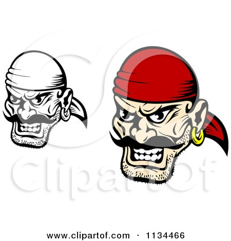 Clipart Of Angry Black And White Pirate Faces 1 - Royalty Free Vector Illustration by Vector Tradition SM