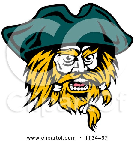 Clipart Of An Angry Pirate Face 2 - Royalty Free Vector Illustration by Vector Tradition SM