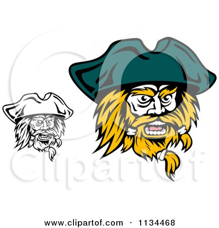 Clipart Of Angry Black And White Pirate Faces 2 - Royalty Free Vector Illustration by Vector Tradition SM