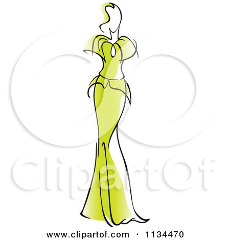 Clipart Of A Woman In A Gorgeous Green Gown - Royalty Free Vector Illustration by Vector Tradition SM