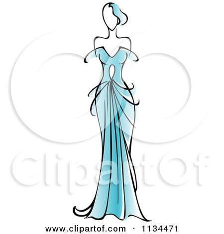 Clipart Of A Woman In A Gorgeous Blue Gown - Royalty Free Vector Illustration by Vector Tradition SM