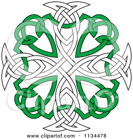 Clipart Of A Green And White Celtic Knot Cross Royalty Free Vector Illustration