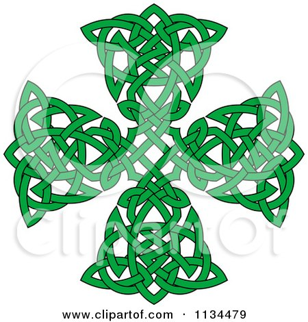 Clipart Of A Green Celtic Knot Cross - Royalty Free Vector Illustration by Vector Tradition SM