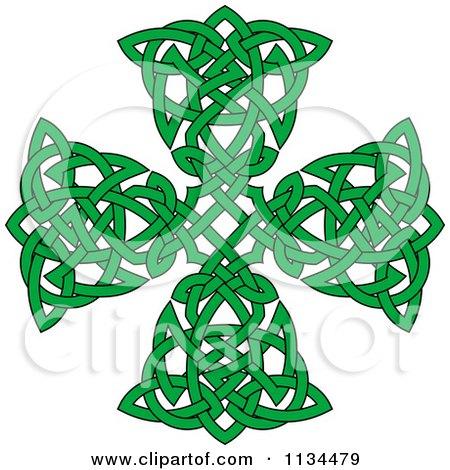 Green Celtic Knot Cross Posters, Art Prints