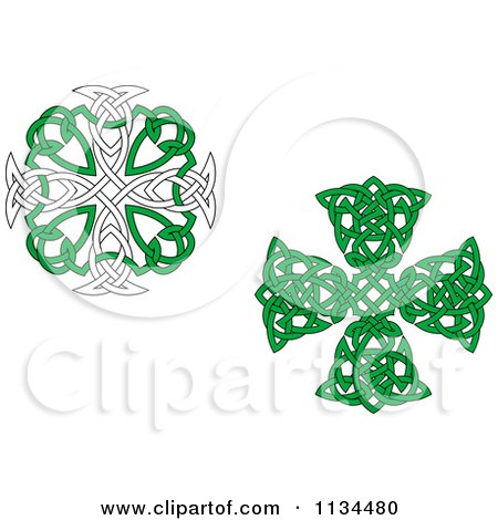 Clipart Of Green Celtic Knot Crosses - Royalty Free Vector Illustration by Vector Tradition SM