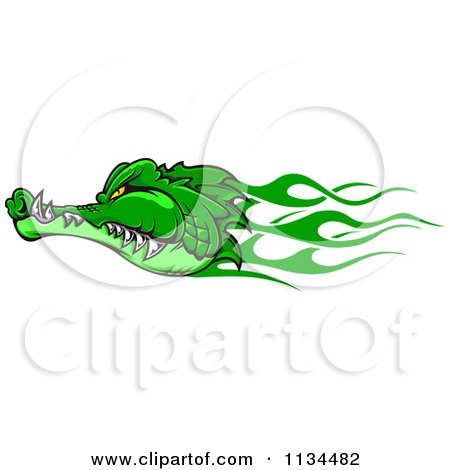 Clipart Of A Green Flaming Crocodile Head - Royalty Free Vector Illustration by Vector Tradition SM