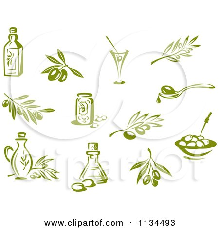Clipart Of Green Olives Branches And Oils - Royalty Free Vector Illustration by Vector Tradition SM