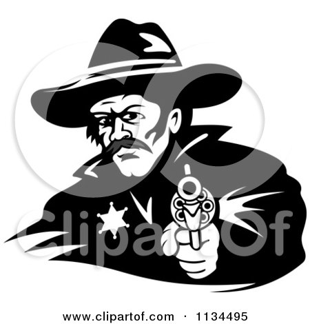 Clipart Of A Black And White Cowboy Sheriff Pointing A Pistol 2 - Royalty Free Vector Illustration by Vector Tradition SM