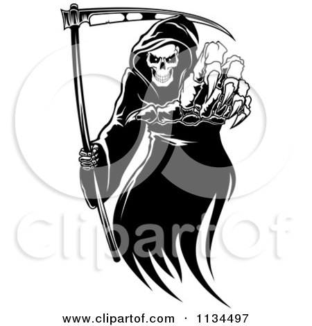 Clipart Of A Black And White Grim Reaper Reaching Outwards - Royalty Free Vector Illustration by Vector Tradition SM