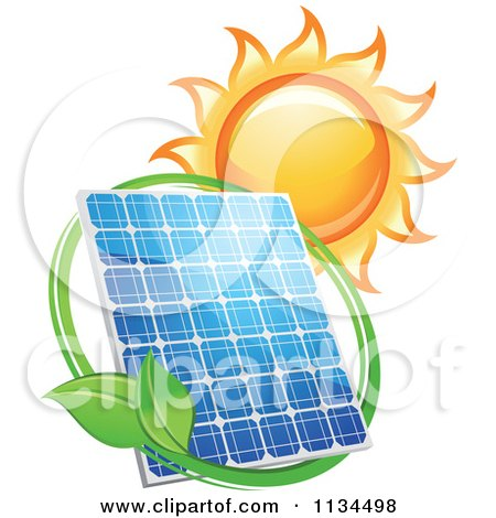 Blazing Sun Leaf Circle And Solar Panel Posters, Art Prints