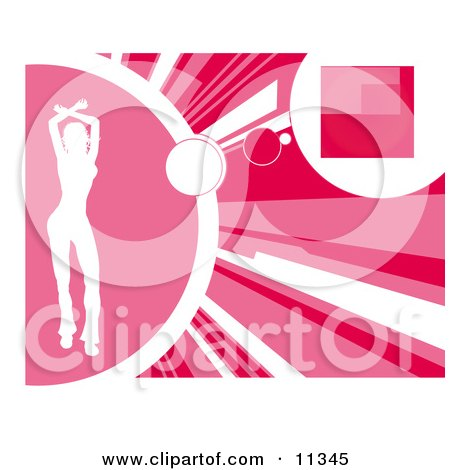 Silhouetted Woman Dancing on a Pink Background Clipart Illustration by AtStockIllustration