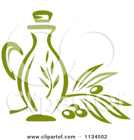 Clipart Of A Bottle Of Olive Oil 2 - Royalty Free Vector Illustration by Vector Tradition SM