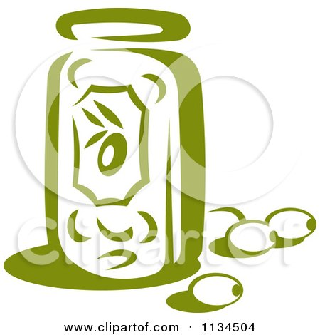 Clipart Of A Jar Of Green Olives - Royalty Free Vector Illustration by Vector Tradition SM