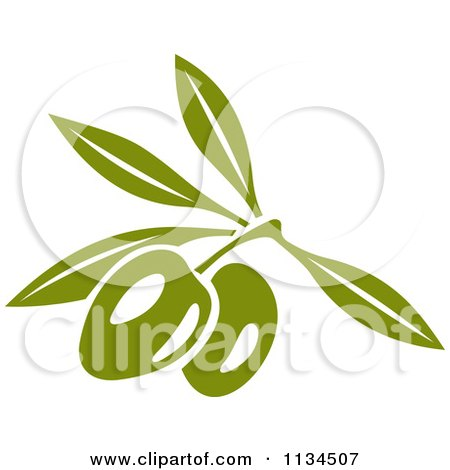 Clipart Of Green Olives On The Tree 1 - Royalty Free Vector Illustration by Vector Tradition SM