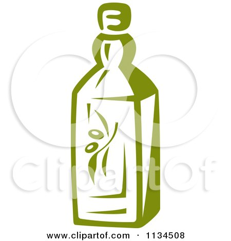 Clipart Of A Bottle Of Olive Oil 1 - Royalty Free Vector Illustration by Vector Tradition SM
