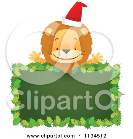 Cartoon Of A Happy Christmas Lion Over A Holly Sign - Royalty Free Vector Clipart by Qiun