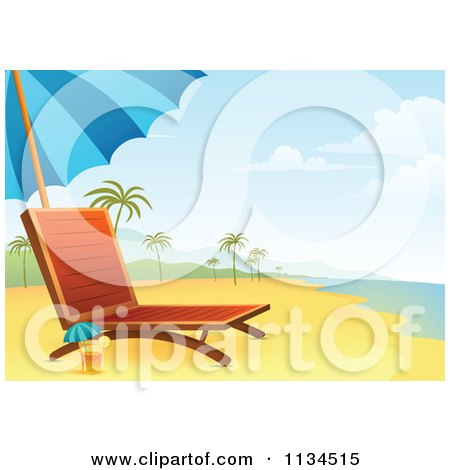 Clipart Of A Chaise Lounge And Cocktail On A Tropical Beach - Royalty Free Vector Illustration by Qiun