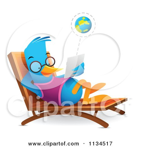 Cartoon Of A Bluebird Using A Tablet On A Chaise Lounge - Royalty Free Vector Clipart by Qiun