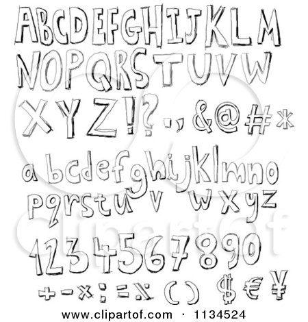 black and white sketched alphabet letters numbers and symbols