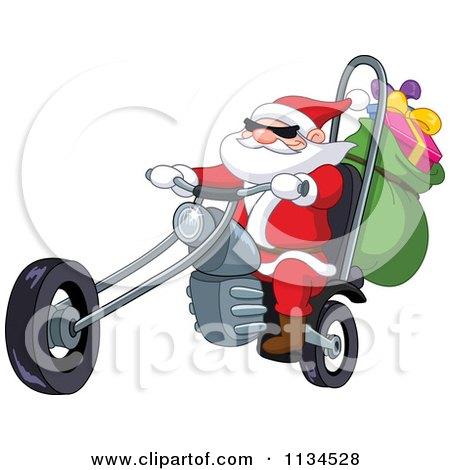 Cartoon Of Santa Riding A Chopper Motorcycle - Royalty Free Vector Clipart by yayayoyo