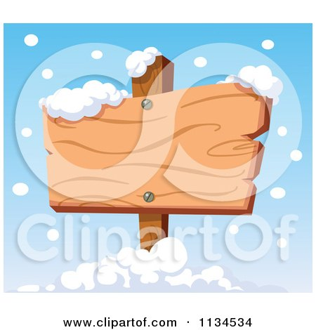 Cartoon Of Snow Falling Around A Wooden Sign - Royalty Free Vector Clipart by yayayoyo