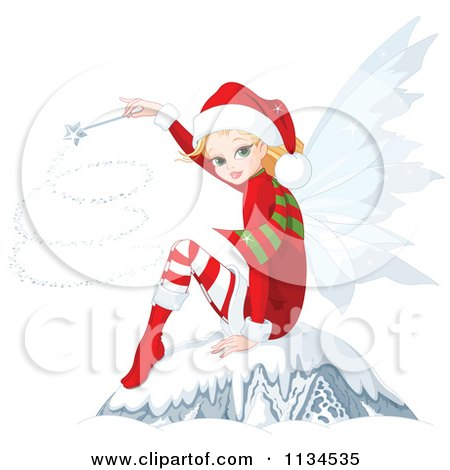 Cartoon Of A Christmas Fairy Using A Magic Wand And Sitting In Snow - Royalty Free Vector Clipart by Pushkin