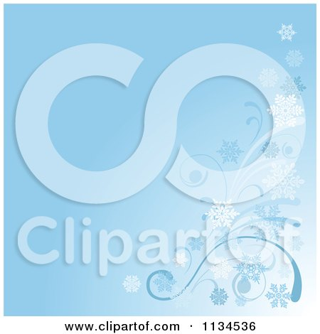 Clipart Of A Blue Winter Breeze And Snowflake Background - Royalty Free Vector Illustration by Pushkin