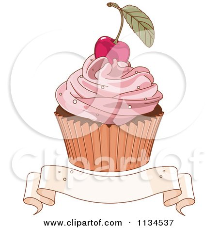 Cherry Topped Cupcake Over A Blank Ribbon Banner Posters, Art Prints