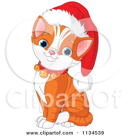 Cartoon Of A Cute Christmas Kitten Wearing Jingle Bells And A Santa Hat - Royalty Free Vector Clipart by Pushkin