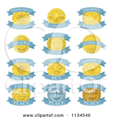 Clipart Of Blue And Gold Award Placement Badges - Royalty Free Vector Illustration by AtStockIllustration