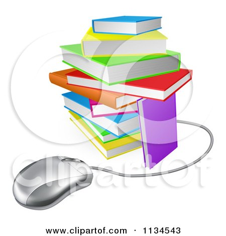 Clipart Of A Computer Mouse Wired To A Colorful Stack Of Books - Royalty Free Vector Illustration by AtStockIllustration