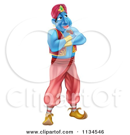 Cartoon Of A Genie Standing With His Arms Folded - Royalty Free Vector Clipart by AtStockIllustration